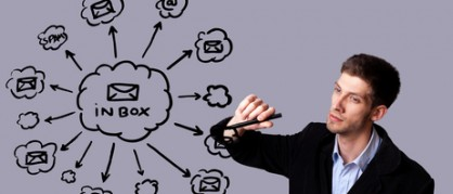 Businessman writing e-mail schema on whiteboard